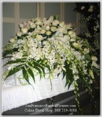 Casket Spray, White Roses, White Dendroniums, Funeral Flowers, Sympathy Flowers, Funeral Flower Arrangements from San Francisco Funeral Flowers.com Search for chinese funeral, sympathy funeral flower arrangements from our SanFranciscoFuneralFlowers.com website. Our funeral and sympathy arrangements include crosses, casket covers, hearts, wreaths on wood easels, coronas fúnebres, arreglos fúnebres, cruces para velorio, coronas para difunto, arreglos fúnebres, Florerias, Floreria, arreglos florales, corona funebre, coronas