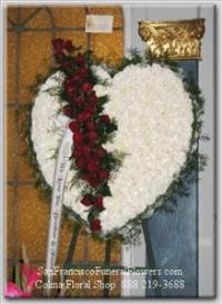 Broken Heart Floral Spray, white carnation, red roses, Funeral Flowers, Sympathy Flowers, Funeral Flower Arrangements from San Francisco Funeral Flowers.com Search for chinese funeral, sympathy funeral flower arrangements from our SanFranciscoFuneralFlowers.com website. Our funeral and sympathy arrangements include crosses, casket covers, hearts, wreaths on wood easels, coronas fúnebres, arreglos fúnebres, cruces para velorio, coronas para difunto, arreglos fúnebres, Florerias, Floreria, arreglos florales, corona funebre, coronas