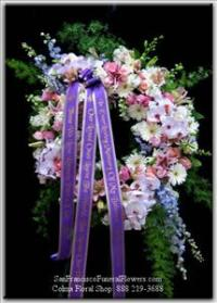 Remembered with Love Wreath Funeral Flowers, Sympathy Flowers, Funeral Flower Arrangements from San Francisco Funeral Flowers.com Search for chinese funeral, sympathy funeral flower arrangements from our SanFranciscoFuneralFlowers.com website. Our funeral and sympathy arrangements include crosses, casket covers, hearts, wreaths on wood easels, coronas fúnebres, arreglos fúnebres, cruces para velorio, coronas para difunto, arreglos fúnebres, Florerias, Floreria, arreglos florales, corona funebre, coronas