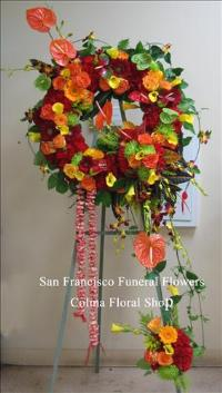 Hawaiian Tribute Wreath Funeral Flowers, Sympathy Flowers, Funeral Flower Arrangements from San Francisco Funeral Flowers.com Search for chinese funeral, sympathy funeral flower arrangements from our SanFranciscoFuneralFlowers.com website. Our funeral and sympathy arrangements include crosses, casket covers, hearts, wreaths on wood easels, coronas fúnebres, arreglos fúnebres, cruces para velorio, coronas para difunto, arreglos fúnebres, Florerias, Floreria, arreglos florales, corona funebre, coronas