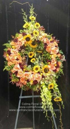 Autumn Love Wreath Funeral Flowers, Sympathy Flowers, Funeral Flower Arrangements from San Francisco Funeral Flowers.com Search for chinese funeral, sympathy funeral flower arrangements from our SanFranciscoFuneralFlowers.com website. Our funeral and sympathy arrangements include crosses, casket covers, hearts, wreaths on wood easels, coronas fúnebres, arreglos fúnebres, cruces para velorio, coronas para difunto, arreglos fúnebres, Florerias, Floreria, arreglos florales, corona funebre, coronas