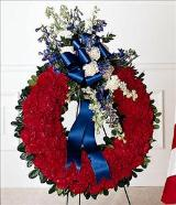 All American Tribute™ Wreath Funeral Flowers, Sympathy Flowers, Funeral Flower Arrangements from San Francisco Funeral Flowers.com Search for sympathy and funeral flower arrangement ideas from our SanFranciscoFuneralFlowers.com website. Our funeral and sympathy arrangements include crosses, casket covers, hearts, wreaths on wood easels. Open 365 days and provide delivery everyday including Sunday delivery to funeral homes from San Francisco CA to San Mateo CA. San Francisco Flowers