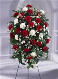 Crimson & White™ Standing Spray Funeral Flowers, Sympathy Flowers, Funeral Flower Arrangements from San Francisco Funeral Flowers.com Search for chinese funeral, sympathy funeral flower arrangements from our SanFranciscoFuneralFlowers.com website. Our funeral and sympathy arrangements include crosses, casket covers, hearts, wreaths on wood easels, coronas fúnebres, arreglos fúnebres, cruces para velorio, coronas para difunto, arreglos fúnebres, Florerias, Floreria, arreglos florales, corona funebre, coronas