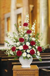 Red & White Fan Shape Funeral Flowers, Sympathy Flowers, Funeral Flower Arrangements from San Francisco Funeral Flowers.com Search for chinese funeral, sympathy funeral flower arrangements from our SanFranciscoFuneralFlowers.com website. Our funeral and sympathy arrangements include crosses, casket covers, hearts, wreaths on wood easels, coronas fúnebres, arreglos fúnebres, cruces para velorio, coronas para difunto, arreglos fúnebres, Florerias, Floreria, arreglos florales, corona funebre, coronas