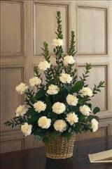 White Carnation Basket Funeral Flowers, Sympathy Flowers, Funeral Flower Arrangements from San Francisco Funeral Flowers.com Search for sympathy and funeral flower arrangement ideas from our SanFranciscoFuneralFlowers.com website. Our funeral and sympathy arrangements include crosses, casket covers, hearts, wreaths on wood easels. Open 365 days and provide delivery everyday including Sunday delivery to funeral homes from San Francisco CA to San Mateo CA. San Francisco Flowers