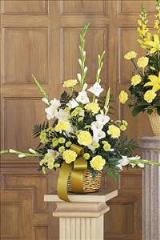 White, Yellow & Green Basket Funeral Flowers, Sympathy Flowers, Funeral Flower Arrangements from San Francisco Funeral Flowers.com Search for sympathy and funeral flower arrangement ideas from our SanFranciscoFuneralFlowers.com website. Our funeral and sympathy arrangements include crosses, casket covers, hearts, wreaths on wood easels. Open 365 days and provide delivery everyday including Sunday delivery to funeral homes from San Francisco CA to San Mateo CA. San Francisco Flowers