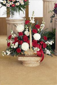 Red & White Fireside Basket Funeral Flowers, Sympathy Flowers, Funeral Flower Arrangements from San Francisco Funeral Flowers.com Search for chinese funeral, sympathy funeral flower arrangements from our SanFranciscoFuneralFlowers.com website. Our funeral and sympathy arrangements include crosses, casket covers, hearts, wreaths on wood easels, coronas fúnebres, arreglos fúnebres, cruces para velorio, coronas para difunto, arreglos fúnebres, Florerias, Floreria, arreglos florales, corona funebre, coronas