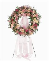 Mixed Pink Wreath Funeral Flowers, Sympathy Flowers, Funeral Flower Arrangements from San Francisco Funeral Flowers.com Search for sympathy and funeral flower arrangement ideas from our SanFranciscoFuneralFlowers.com website. Our funeral and sympathy arrangements include crosses, casket covers, hearts, wreaths on wood easels. Open 365 days and provide delivery everyday including Sunday delivery to funeral homes from San Francisco CA to San Mateo CA. San Francisco Flowers