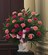 Basket with Pink Carnations Funeral Flowers, Sympathy Flowers, Funeral Flower Arrangements from San Francisco Funeral Flowers.com Search for chinese funeral, sympathy funeral flower arrangements from our SanFranciscoFuneralFlowers.com website. Our funeral and sympathy arrangements include crosses, casket covers, hearts, wreaths on wood easels, coronas fúnebres, arreglos fúnebres, cruces para velorio, coronas para difunto, arreglos fúnebres, Florerias, Floreria, arreglos florales, corona funebre, coronas