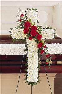 White & Red Cross Funeral Flowers, Sympathy Flowers, Funeral Flower Arrangements from San Francisco Funeral Flowers.com Search for chinese funeral, sympathy funeral flower arrangements from our SanFranciscoFuneralFlowers.com website. Our funeral and sympathy arrangements include crosses, casket covers, hearts, wreaths on wood easels, coronas fúnebres, arreglos fúnebres, cruces para velorio, coronas para difunto, arreglos fúnebres, Florerias, Floreria, arreglos florales, corona funebre, coronas