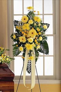 Yellow Easel Spray Funeral Flowers, Sympathy Flowers, Funeral Flower Arrangements from San Francisco Funeral Flowers.com Search for chinese funeral, sympathy funeral flower arrangements from our SanFranciscoFuneralFlowers.com website. Our funeral and sympathy arrangements include crosses, casket covers, hearts, wreaths on wood easels, coronas fúnebres, arreglos fúnebres, cruces para velorio, coronas para difunto, arreglos fúnebres, Florerias, Floreria, arreglos florales, corona funebre, coronas