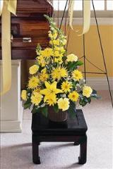 Yellow Triangular Arrangement Funeral Flowers, Sympathy Flowers, Funeral Flower Arrangements from San Francisco Funeral Flowers.com Search for sympathy and funeral flower arrangement ideas from our SanFranciscoFuneralFlowers.com website. Our funeral and sympathy arrangements include crosses, casket covers, hearts, wreaths on wood easels. Open 365 days and provide delivery everyday including Sunday delivery to funeral homes from San Francisco CA to San Mateo CA. San Francisco Flowers
