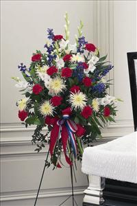 Red, White & Blue Easel Spray Funeral Flowers, Sympathy Flowers, Funeral Flower Arrangements from San Francisco Funeral Flowers.com Search for chinese funeral, sympathy funeral flower arrangements from our SanFranciscoFuneralFlowers.com website. Our funeral and sympathy arrangements include crosses, casket covers, hearts, wreaths on wood easels, coronas fúnebres, arreglos fúnebres, cruces para velorio, coronas para difunto, arreglos fúnebres, Florerias, Floreria, arreglos florales, corona funebre, coronas
