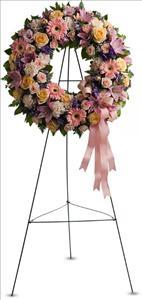 Graceful Wreath Funeral Flowers, Sympathy Flowers, Funeral Flower Arrangements from San Francisco Funeral Flowers.com Search for sympathy and funeral flower arrangement ideas from our SanFranciscoFuneralFlowers.com website. Our funeral and sympathy arrangements include crosses, casket covers, hearts, wreaths on wood easels. Open 365 days and provide delivery everyday including Sunday delivery to funeral homes from San Francisco CA to San Mateo CA. San Francisco Flowers