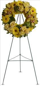 Circle of Sunshine Funeral Flowers, Sympathy Flowers, Funeral Flower Arrangements from San Francisco Funeral Flowers.com Search for sympathy and funeral flower arrangement ideas from our SanFranciscoFuneralFlowers.com website. Our funeral and sympathy arrangements include crosses, casket covers, hearts, wreaths on wood easels. Open 365 days and provide delivery everyday including Sunday delivery to funeral homes from San Francisco CA to San Mateo CA. San Francisco Flowers